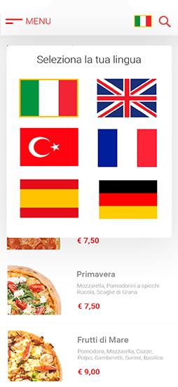 menu digitale multilingue con traduzione
