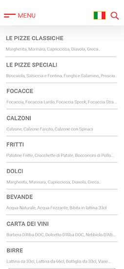 menu digitale con categorie lista portate piatti